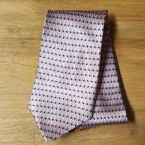 Geoffrey Beene Pink Black Silk Mafia Tie fresh